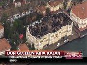 Yanmış Galatasaray Üniversitesi'nin havadan görüntüsü