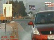 Sürücü radar aracına böyle çarptı