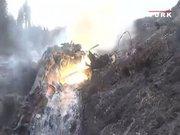 Düşürülen helikopterin enkaz görüntüleri kamerada