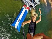 Şişme mancınıkla suya dalış