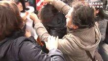 Taksim'de kadın eylemcinin kafasına kalas düştü!